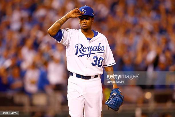 Yordano Ventura of the Kansas City Royals reatcs in the second inning against the Toronto Blue Jays in game six of the 2015 MLB American League...