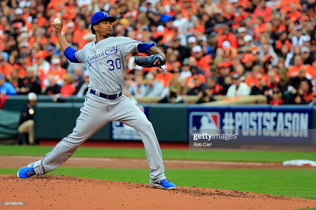 <a gi-track='captionPersonalityLinkClicked' href=/galleries/search?phrase=Yordano+Ventura&family=editorial&specificpeople=9527243 ng-click='$event.stopPropagation()'>Yordano Ventura</a> #30 of the Kansas City Royals throws a pitch in the first inning against the Baltimore Orioles during Game Two of the American League Championship Series at Oriole Park at Camden Yards on October 11, 2014 in Baltimore, Maryland.