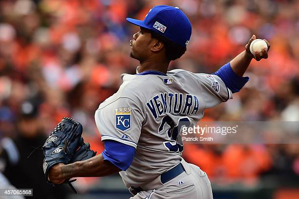 Yordano Ventura of the Kansas City Royals throws a pitch in the first inning against the Baltimore Orioles during Game Two of the American League...