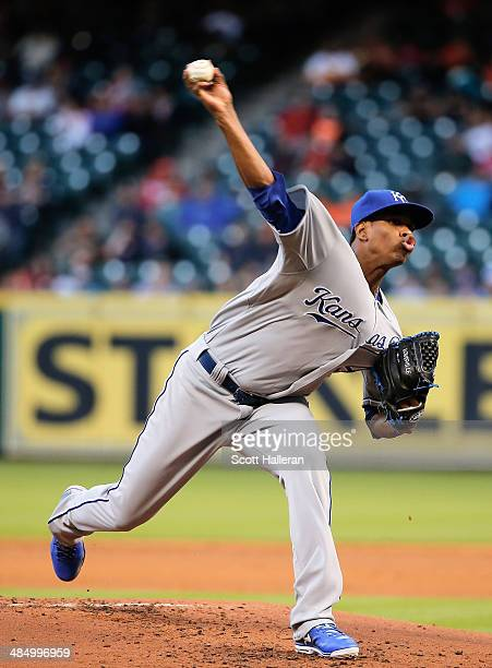 Yordano Ventura of the Kansas City Royals throws a pitch in the first inning against the Houston Astros at Minute Maid Park on April 15 2014 in...
