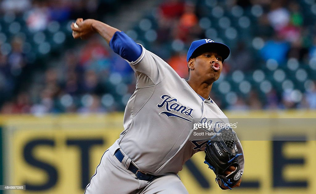 <a gi-track='captionPersonalityLinkClicked' href=/galleries/search?phrase=Yordano+Ventura&family=editorial&specificpeople=9527243 ng-click='$event.stopPropagation()'>Yordano Ventura</a> of the Kansas City Royals throws a pitch in the first inning against the Houston Astros at Minute Maid Park on April 15, 2014 in Houston, Texas. All uniformed team members are wearing jersey number 42 in honor of Jackie Robinson Day.
