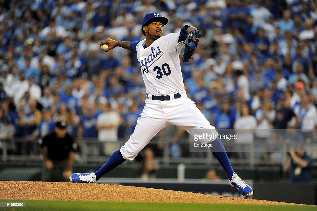Yordano Ventura #30 of the Kansas City Royals throws a pitch in the first inning during game one of the American League Division Series between the Kansas City Royals and the Houston Astros at Kauffman Stadium on October 8, 2015 in Kansas City, Missouri.