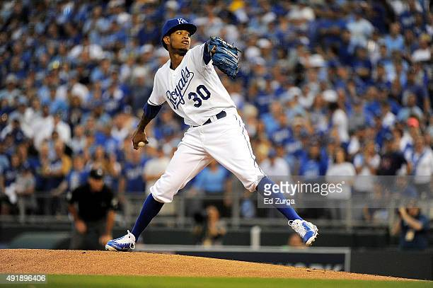 Yordano Ventura of the Kansas City Royals throws a pitch in the first inning during game one of the American League Division Series between the...