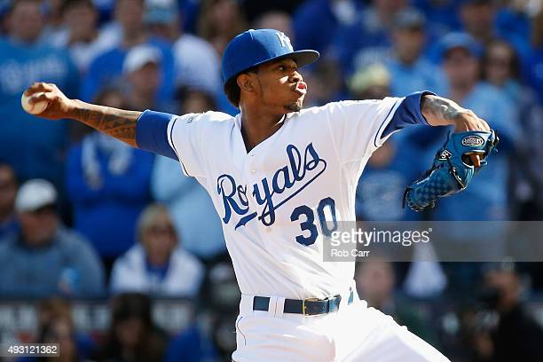 Yordano Ventura of the Kansas City Royals throws a pitch in the first inning against the Toronto Blue Jays in game two of the American League...