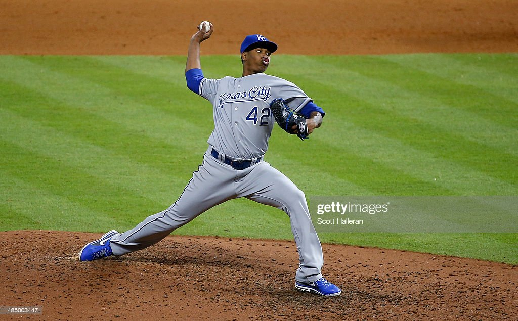 <a gi-track='captionPersonalityLinkClicked' href=/galleries/search?phrase=Yordano+Ventura&family=editorial&specificpeople=9527243 ng-click='$event.stopPropagation()'>Yordano Ventura</a> of the Kansas City Royals throws a pitch in the seventh inning against the Houston Astros at Minute Maid Park on April 15, 2014 in Houston, Texas. All uniformed team members are wearing jersey number 42 in honor of Jackie Robinson Day.
