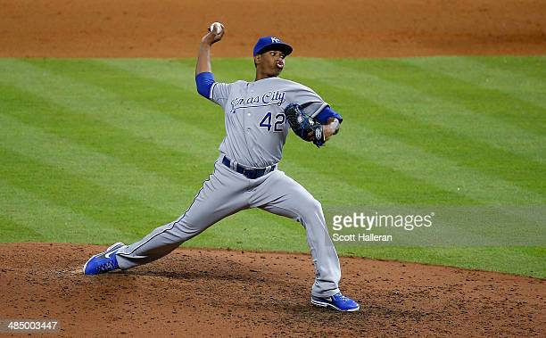 Yordano Ventura of the Kansas City Royals throws a pitch in the seventh inning against the Houston Astros at Minute Maid Park on April 15 2014 in...