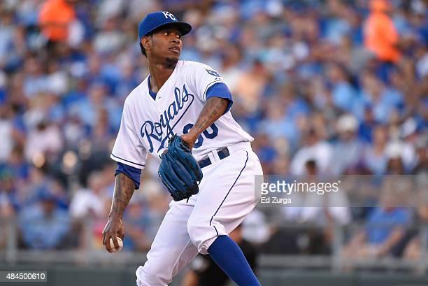 Yordano Ventura of the Kansas City Royals throws against the Detroit Tigers at Kauffman Stadium on August 11 2015 in Kansas City Missouri
