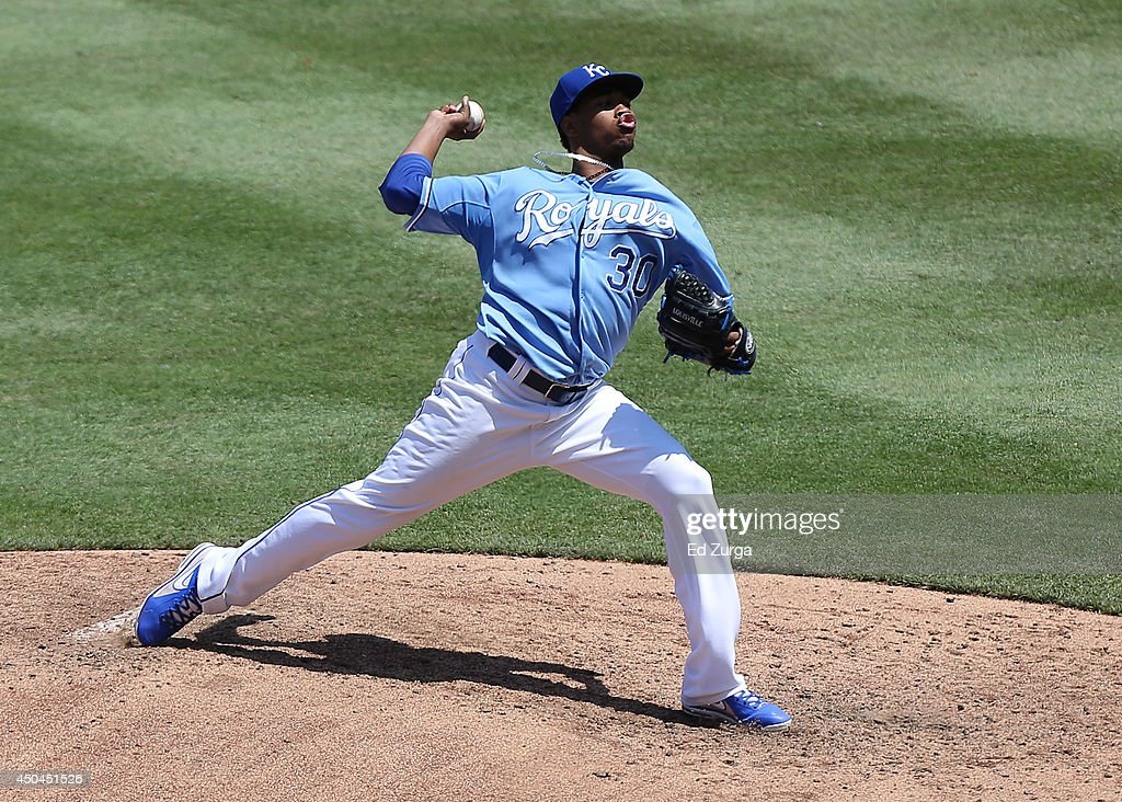Yordano Ventura #30 of the Kansas City Royals throws in the fifth inning against the Cleveland Indians at Kauffman Stadium on June 11, 2014 in Kansas City, Missouri.