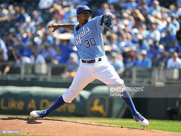 Yordano Ventura of the Kansas City Royals throws in the first inning against the Chicago White Sox at Kauffman Stadium on September 19 2016 in Kansas...