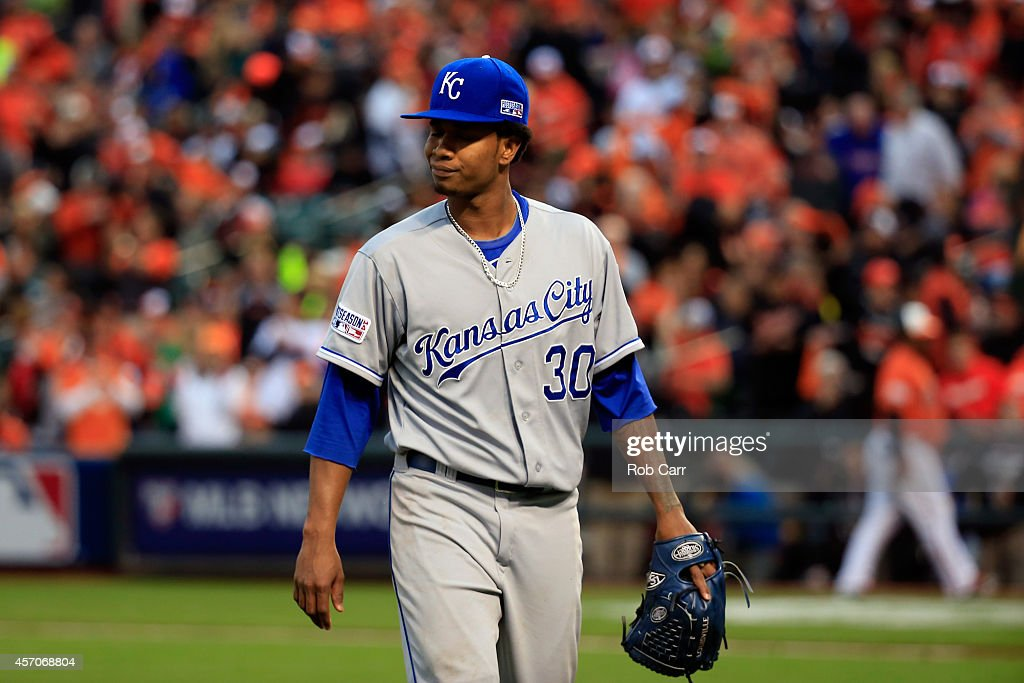 <a gi-track='captionPersonalityLinkClicked' href=/galleries/search?phrase=Yordano+Ventura&family=editorial&specificpeople=9527243 ng-click='$event.stopPropagation()'>Yordano Ventura</a> #30 of the Kansas City Royals walks back to the dugout at the end of the third inning against the Baltimore Orioles during Game Two of the American League Championship Series at Oriole Park at Camden Yards on October 11, 2014 in Baltimore, Maryland.