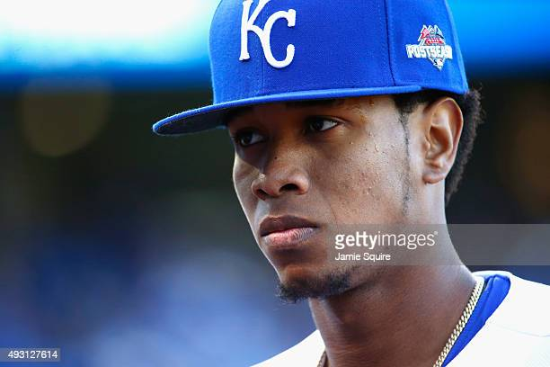 Yordano Ventura of the Kansas City Royals walks off the field after the fourth inning against the Toronto Blue Jays in game two of the American...
