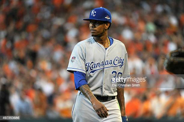 Yordano Ventura of the Kansas City Royals walks off the field at the end of the fifth inning against the Houston Astros during game four of the...
