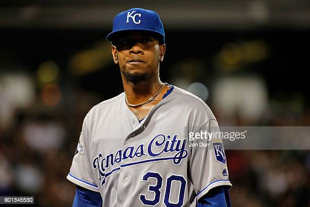 Yordano Ventura of the Kansas City Royals walks to the dugout at the end of the fifth inning after giving up three runs to the Chicago White Sox at...