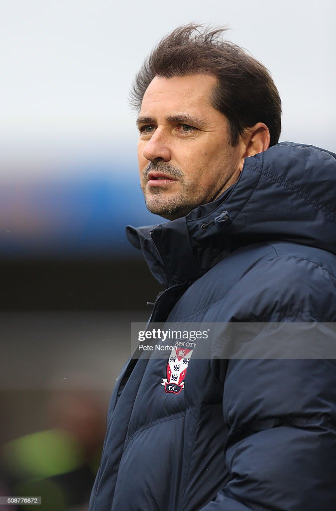 York City manager <a gi-track='captionPersonalityLinkClicked' href=/galleries/search?phrase=Jackie+McNamara&family=editorial&specificpeople=220273 ng-click='$event.stopPropagation()'>Jackie McNamara</a> looks on during the Sky Bet League Two match between Northampton Town and York City at Sixfields Stadium on February 6, 2016 in Northampton, England.