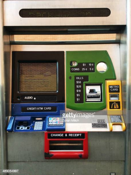 York City public transit automated pay ticket machine that promotes the reuse of exhausting plastic type of tickets in the Manhattan borough of New...