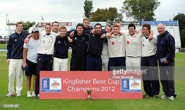 York pose for a photograph with the Kingfisher Beer Cup following the Kingfisher Beer Cup Final between York and Wanstead Snaresbrook at The County...