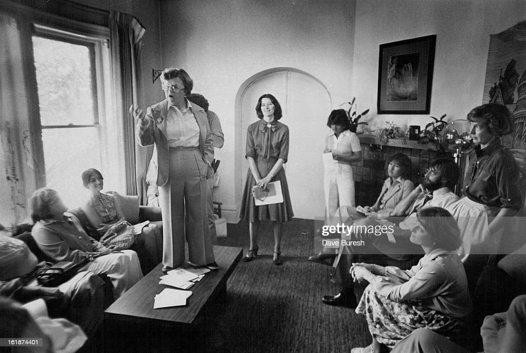 AUG 31 1978; York Street Center; Rep. Barbara Mikulski. D-Maryland, Explain S Her Legislation To Help Battered Women; Mikulski, 4-feet-11-inches tall, stood on a coffee table at York Street Center. Money would go to help victims, not study them.;
