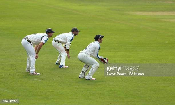 Yorkshire Alex Lees Gary Ballance and Andy Hodd during day three of the Specsavers County Championship Division One match at the Cloudfm County...