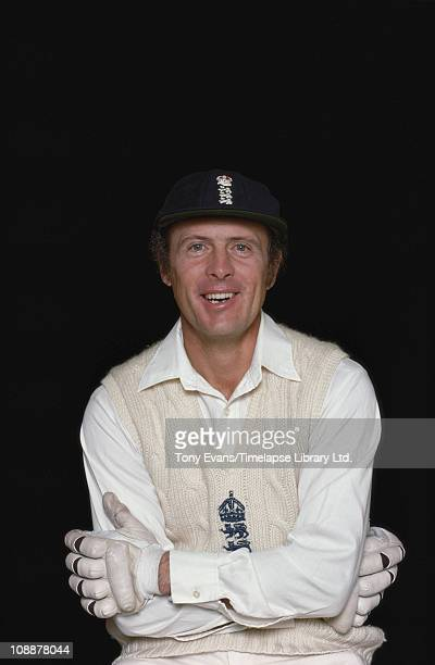 Yorkshire and England cricketer and commentator Geoffrey Boycott posing in his cricket kit 1977