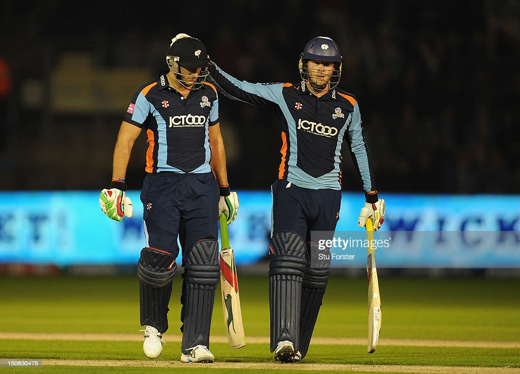 Yorkshire batsman David Miller (r) consoles batsman <a gi-track='captionPersonalityLinkClicked' href=/galleries/search?phrase=Tim+Bresnan&family=editorial&specificpeople=571509 ng-click='$event.stopPropagation()'>Tim Bresnan</a> after he is dismissed during the final of the Friends Life T20 between Hampshire and Yorkshire at SWALEC Stadium on August 25, 2012 in Cardiff, Wales.