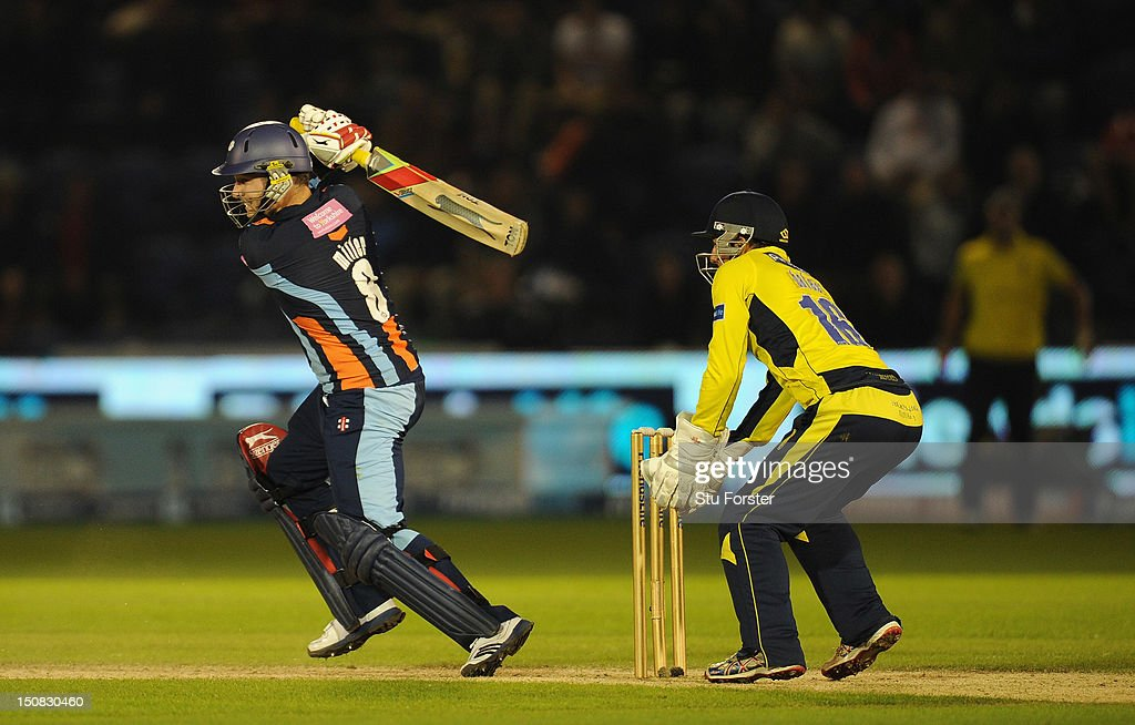 Yorkshire batsman David Miller hits out during the final of the Friends Life T20 between Hampshire and Yorkshire at SWALEC Stadium on August 25, 2012 in Cardiff, Wales.