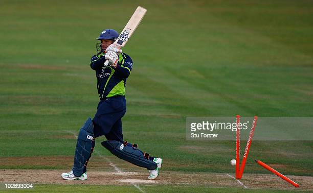 Yorkshire batsman Herschelle Gibbs is bowled during the Friends Provident T20 match between Warwickshire and Yorkshire at Edgbaston on July 14 2010...