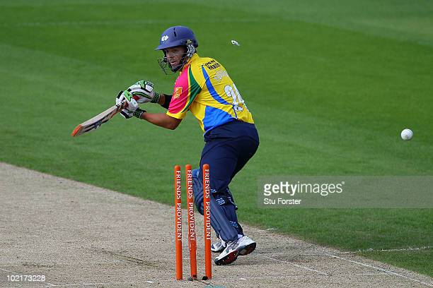 Yorkshire batsman Jacques Rudolph is bowled by Sajid Mahmood during the Friends Provident T20 match between Yorkshire and Lancashire at Headingly on...