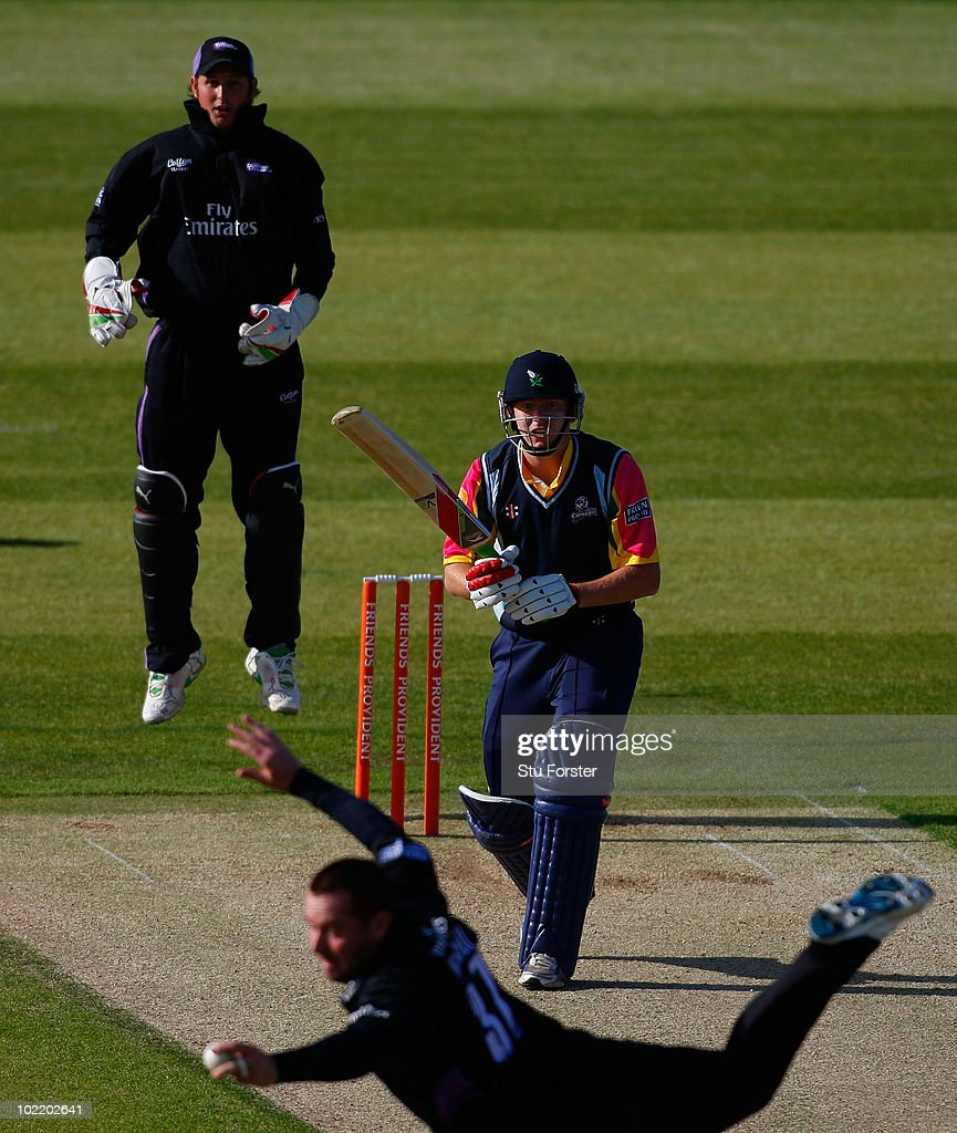 Yorkshire batsman Jonathan Bairstow looks on in disbelief as Ian Blackwell takes a spectacular catch as Phil Mustard looks on during the Friends...