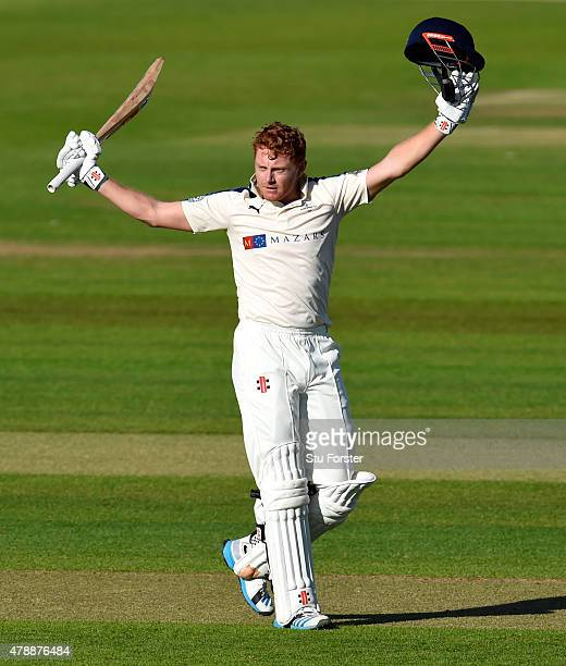 Yorkshire batsman Jonny Bairstow celebrates after reaching his century during day one of the LV County Championship Division One match between Durham...