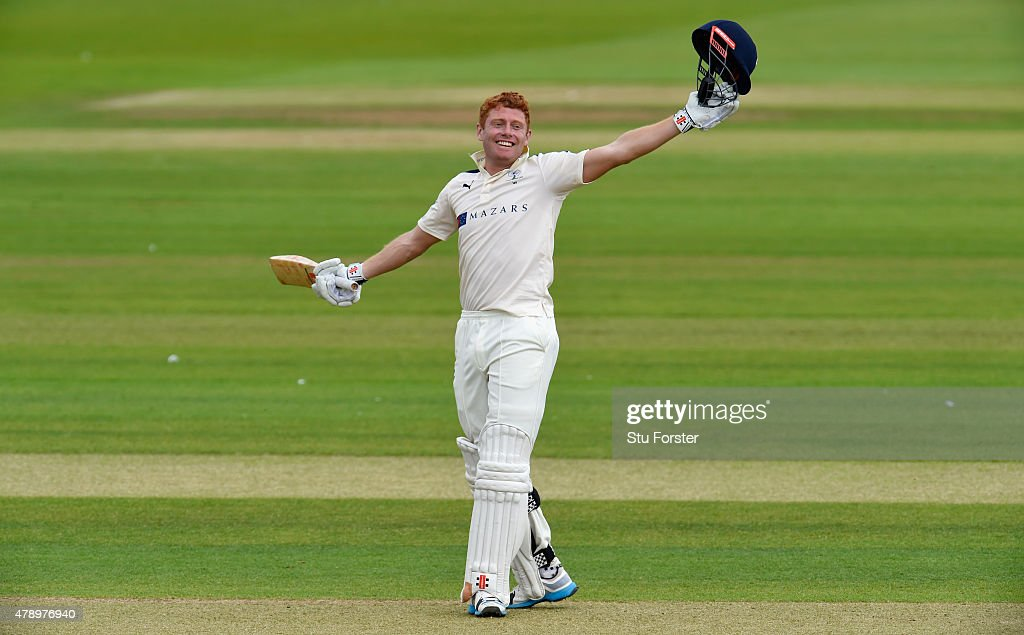 Yorkshire batsman Jonny Bairstow celebrates reaching his 200 during day two of the LV County Championship Division One match between Durham and Yorkshire at Emirates Durham ICG on June 29, 2015 in Chester-le-Street, England.