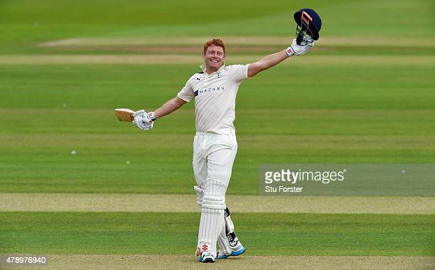 Yorkshire batsman Jonny Bairstow celebrates reaching his 200 during day two of the LV County Championship Division One match between Durham and...