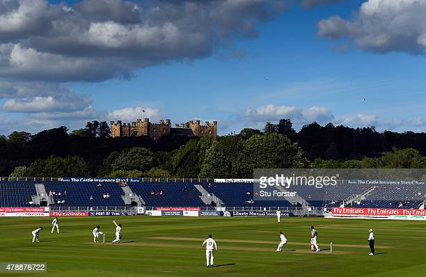 Yorkshire batsman Jonny Bairstow picks up some runs in the shadow of Lumley Castle during day one of the LV County Championship Division One match...