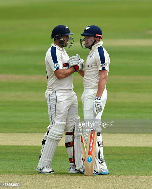 Yorkshire batsmen Tim Bresnan and Jonny Bairstow celebrate their 250 run partnership during day two of the LV County Championship Division One match...