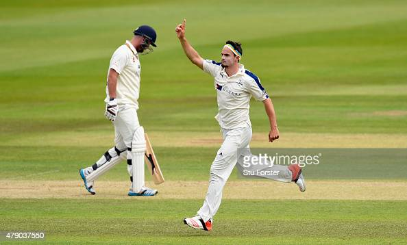 Yorkshire bowler Jack Brooks celebrates after dismissing Chris Rushworth during day three of the LV County Championship Division One match between...