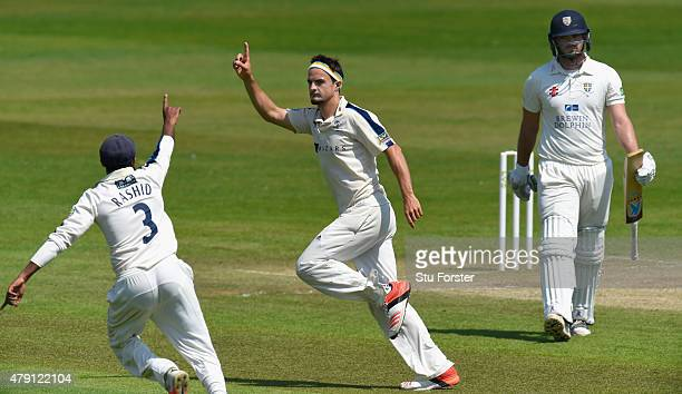 Yorkshire bowler Jack Brooks celebrates after dismissing Durham batsman Ryan Pringle during day four of the LV County Championship Division One match...