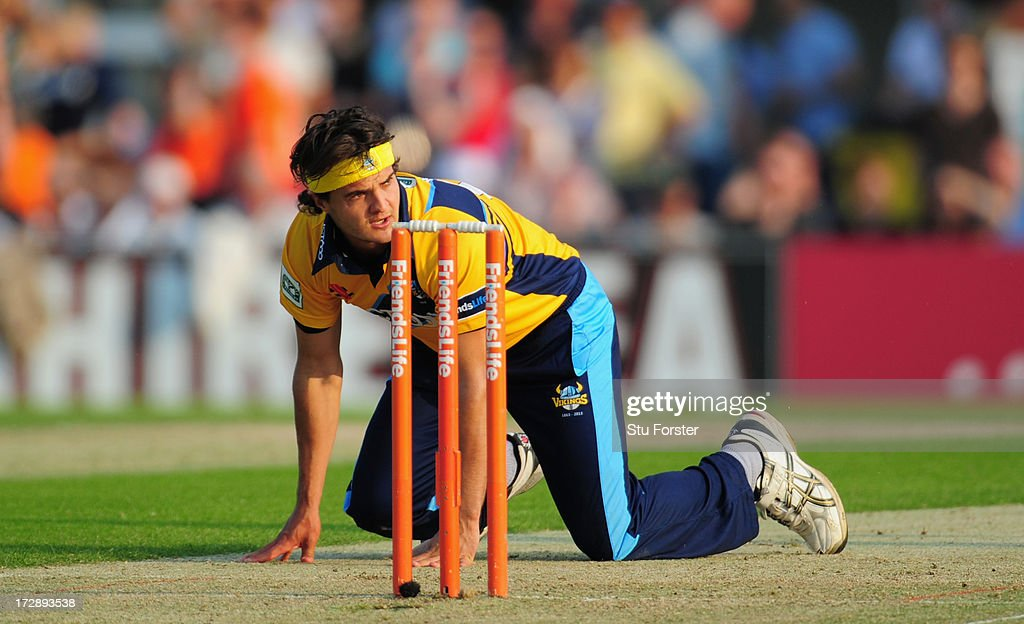 Yorkshire bowler Jack Brooks looks on during the Friends Life T20 match between Yorkshire Carnegie and Lancashire Lightning at Headingley Carnegie Stadium on July 5, 2013 in Leeds, England.