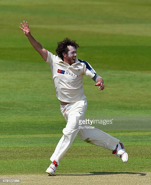 Yorkshire bowler Ryan Sidebottom celebrates after dismissing Durham batsman Mark Stoneman during day four of the LV County Championship Division One...