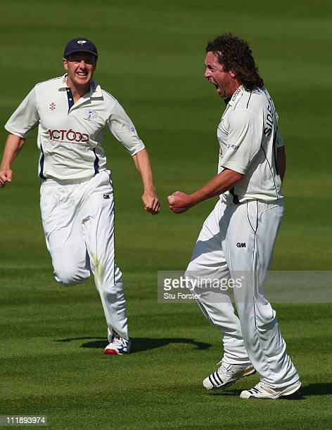 Yorkshire bowler Ryan Sidebottom celebrates after taking the wicket of James Cameron during Day One of the LV County Championship Division One match...