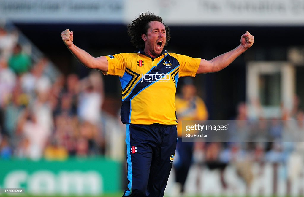 Yorkshire bowler <a gi-track='captionPersonalityLinkClicked' href=/galleries/search?phrase=Ryan+Sidebottom&family=editorial&specificpeople=621602 ng-click='$event.stopPropagation()'>Ryan Sidebottom</a> celebrates as the last ball is only hit for 2 runs thus securing Yorkshire a tied match during the Friends Life T20 match between Yorkshire Carnegie and Lancashire Lightning at Headingley Carnegie Stadium on July 5, 2013 in Leeds, England.