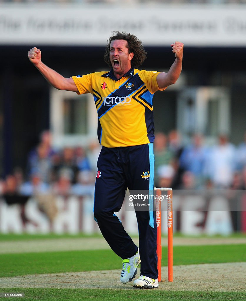 Yorkshire bowler Ryan Sidebottom celebrates as the last ball is only hit for 2 runs thus securing Yorkshire a tied match during the Friends Life T20 match between Yorkshire Carnegie and Lancashire Lightning at Headingley Carnegie Stadium on July 5, 2013 in Leeds, England.