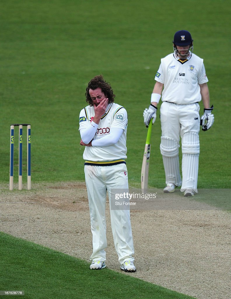 Yorkshire bowler <a gi-track='captionPersonalityLinkClicked' href=/galleries/search?phrase=Ryan+Sidebottom&family=editorial&specificpeople=621602 ng-click='$event.stopPropagation()'>Ryan Sidebottom</a> reacts during day three of the LV County Championship division One match between Durham and Yorkshire at The Riverside on April 26, 2013 in Chester-le-Street, England.
