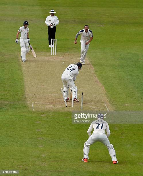 Yorkshire bowler Tim Bresnan bowls Durham batsman Gordon Muchall for no score during day two of the LV County Championship Division One match between...