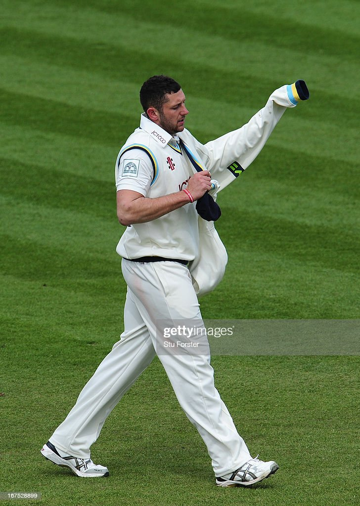 Yorkshire bowler <a gi-track='captionPersonalityLinkClicked' href=/galleries/search?phrase=Tim+Bresnan&family=editorial&specificpeople=571509 ng-click='$event.stopPropagation()'>Tim Bresnan</a> reacts during day three of the LV County Championship division One match between Durham and Yorkshire at The Riverside on April 26, 2013 in Chester-le-Street, England.