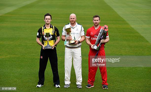 Yorkshire captain Andrew Gale flanked by Gareth Roderick of Gloucestershire and Steven Croft of Lancashire pictured at the ECB 2016 County Cricket...