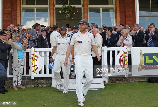 Yorkshire captain Andrew Gale leads his team out of the Lord's Pavilion before the presentation of the LV County Championship trophy following the LV...