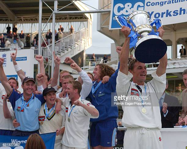 Yorkshire captain Richard Blakey lifts the CG Trophy after Yorkshire win the Cheltenham Gloucester Trophy Final between Somerset and Yorkshire at...