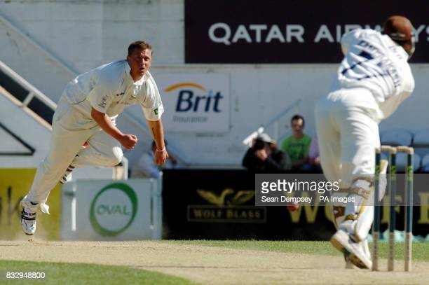 Yorkshire captian Darren Gough bowles to Surrey's Mark Ramprakash during the Liverpool Victoria County Championship match at The Brit Oval Kennington...