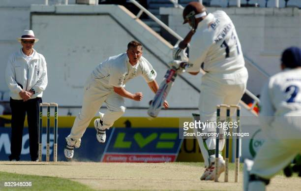 Yorkshire captian Darren Gough bowles to Surrey's Scott Newman during the Liverpool Victoria County Championship match at The Brit Oval Kennington...