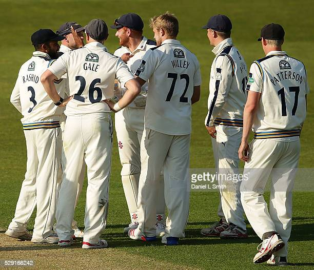 Yorkshire celebrate after David Willey bowls Surrey captain Gareth Batty of Surrey out for an LBW during the Specsavers County Championship Division...