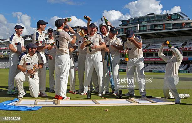Yorkshire celebrate being crowned LV County Champions following the LV County Championship match between Middlesex and Yorkshire at Lord's Cricket...